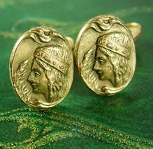 Antique Alphonzo Mucha cufflinks Art nouveau goddess gold  victorian hin... - $245.00