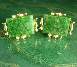 Mystical JADE Oriental cufflinks Gold Dante jewelry Virgo Birthstone Symbol of l - $165.00