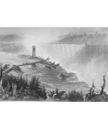 1853 PRINT: Niagara Falls & AD: Akron Ohio T. Wilson Fire-proof Paints M... - $19.80