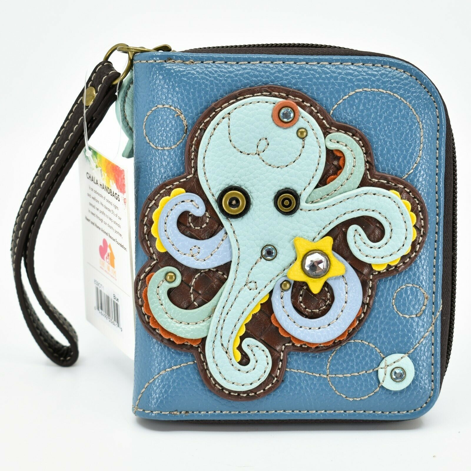 Chala Handbags Faux Leather Whimsical Octopus Blue Zip Around Wristlet Wallet