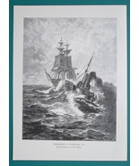 STEAM SHIP & Sailship at High Sea- VICTORIAN Era Engraving Print - $21.60