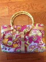 LAUREN by Ralph Lauren Pink Paisley Canvas Leather Handbag Purse Bamboo ... - $27.09