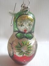 Glass Folk Doll Ornament Matrushka Style Russian Doll - $12.82