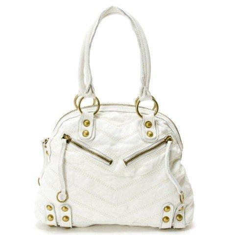 Linea Pelle 'Dylan Patchwork Speedy'In Pure White GORGEOUS!! - $149.00