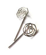 Silver Rose Long Stud Earrings - $19.90