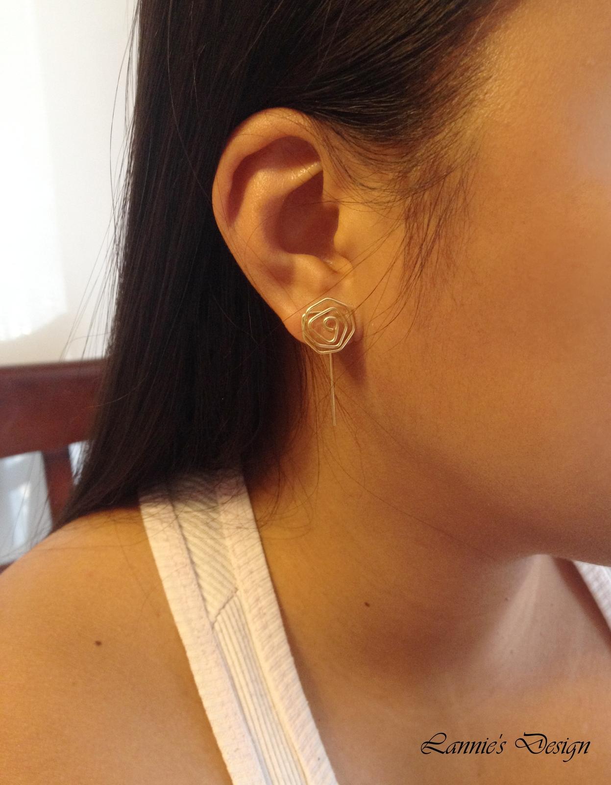 Silver Rose Long Stud Earrings