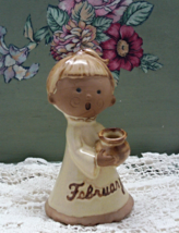 Vintage February Birthday Girl Figurine // Cake Topper // Candle Holder - $8.50