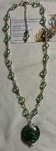 green lampwork glass silver plated handmade nec... - $13.94