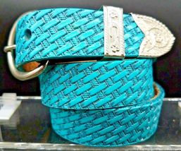 "NEW BASKETWEAVE HATBAND 1"" TURQUOISE Genuine LEATHER Cowboy Hat Band - €23,04 EUR"