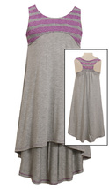Big Girls Tween 7-16 Grey/Purple Perforated Stripe Racerback High Low Knit Dress