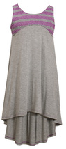 Big Girls Tween 7-16 Grey/Purple Perforated Stripe Racerback High Low Knit Dress image 2