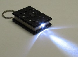 Black/White Square Cookie Biscuit Led Flashlight Key Chain Ring Keychain New - $9.99