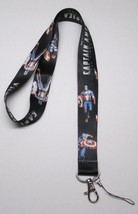 Black CAPTAIN AMERICA LANYARD KEY CHAIN Ring Keychain ID Holder NEW - $9.99