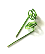 Green Rose Long Stud Earrings - $19.90
