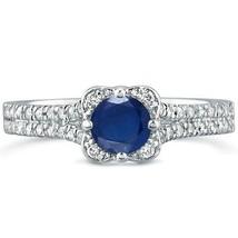 .96 tcw Round Cut Sapphire & Diamond Halo Engagement Ring 14k White Gold - £309.21 GBP