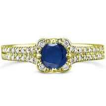 .96 tcw Round Cut Sapphire & Diamond Halo Engagement Ring 14k Yellow Gold - £309.21 GBP