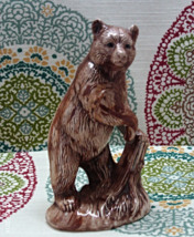 Vintage Grizzly Bear Figurine // Marbled Brown Glaze Bear Statue // Wildlife - $11.00