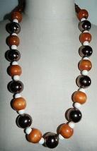 VTG Silver Tone Wood Bronze Color Metallic Cream Bead Long Necklace - $19.80