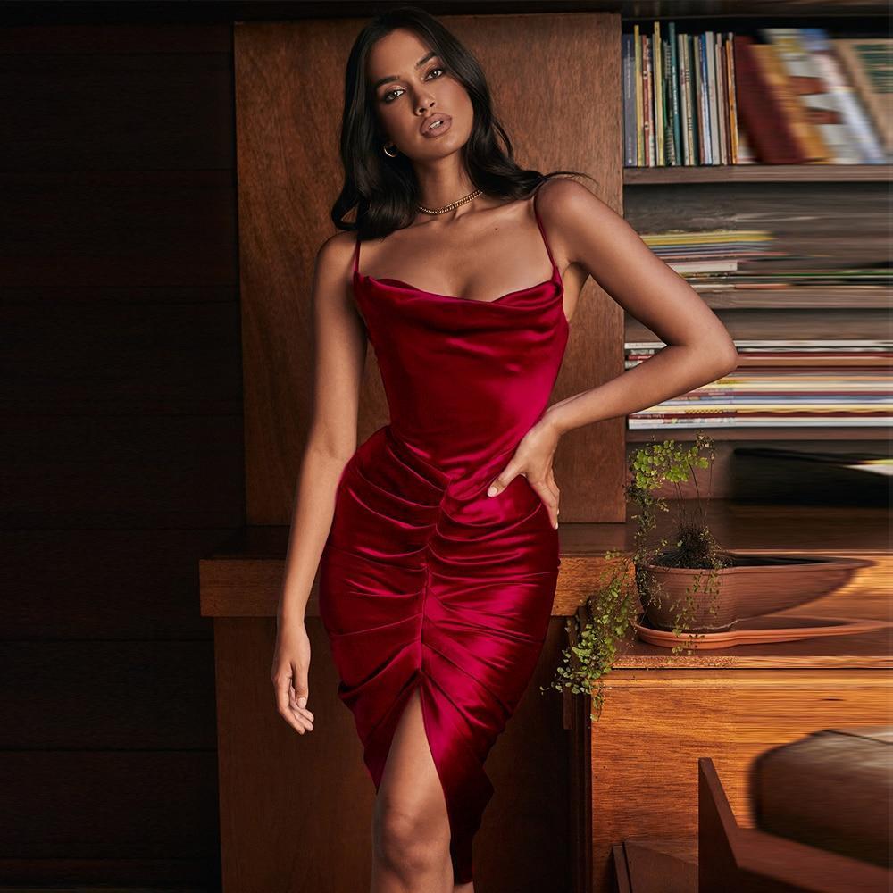 E folds bodycon dress women 2020 new arrivals sexy spaghetti strap wine red bodycon dresses club