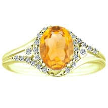 1.30 tcw Oval Cut Citrine & Round Natural Diamond Antique Ring Solid 10k... - £190.84 GBP