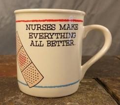 """Hallmark """"Nurses Make Everything All Better"""" Bandaid Coffee Mug Tea Cup ... - $8.85"""