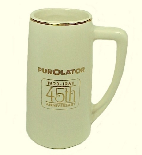 45952a stein mug mccoy pottery 1968 purolator advertising 45th anniversary