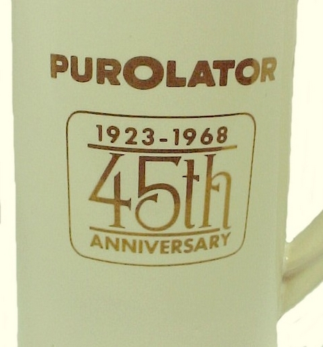 McCoy 1968 Purolator 45th Anniv Advertising Stein Mug