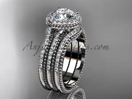 Engagement rings Moissanite center stone platinum diamond wedding set ADER95S - €2.743,43 EUR