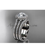 Engagement rings Moissanite center stone platinum diamond wedding set AD... - $3,240.00