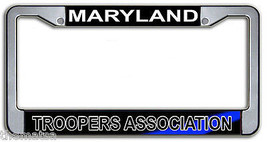 MARYLAND TROOPERS ASSOCIATION POLICE METAL LICENSE PLATE FRAME MADE IN USA - $29.69