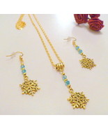 Handcrafted Gold Snowflake Necklace Set - $14.99