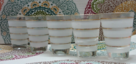Vintage Mid Century Frosted Gold Stripe Drink Glasses // Tumblers // Barware - $15.00