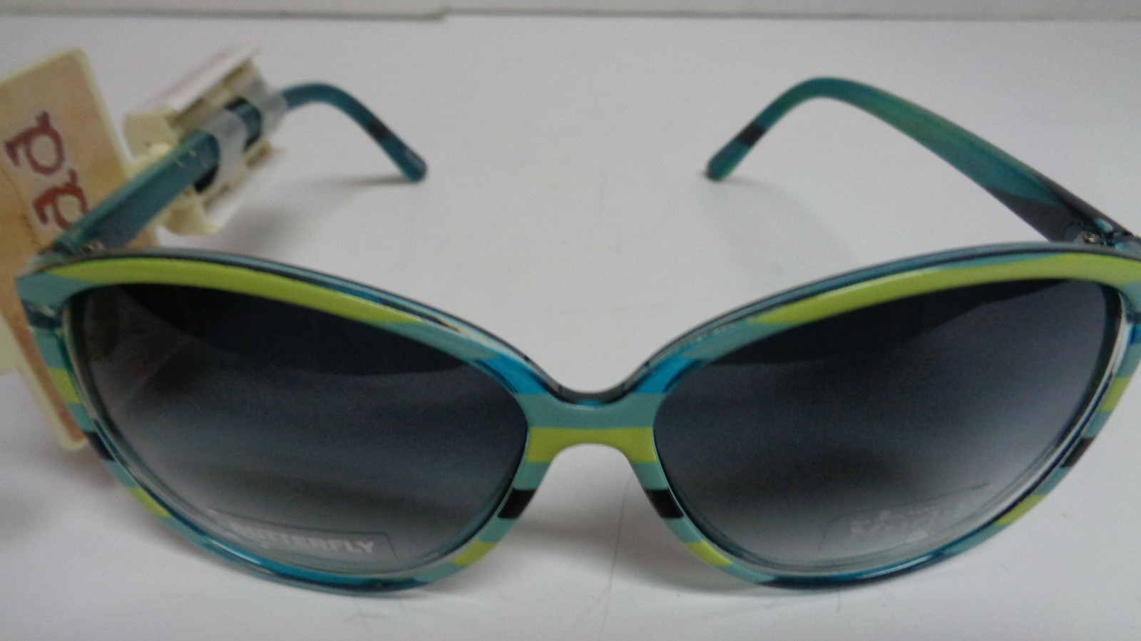 Primary image for MUDD Sunglasses NWT Butterfly Yellow & Blue Striped 100% UV Protection