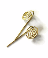 Brass Gold Rose Long Stud Earrings - $6.90