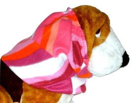 Pink Coral Purple Geometric Print Fleece Dog Snood by Howlin Hounds Size... - $12.50