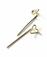 Brass Gold Heart Long Stud Earrings - $18.90