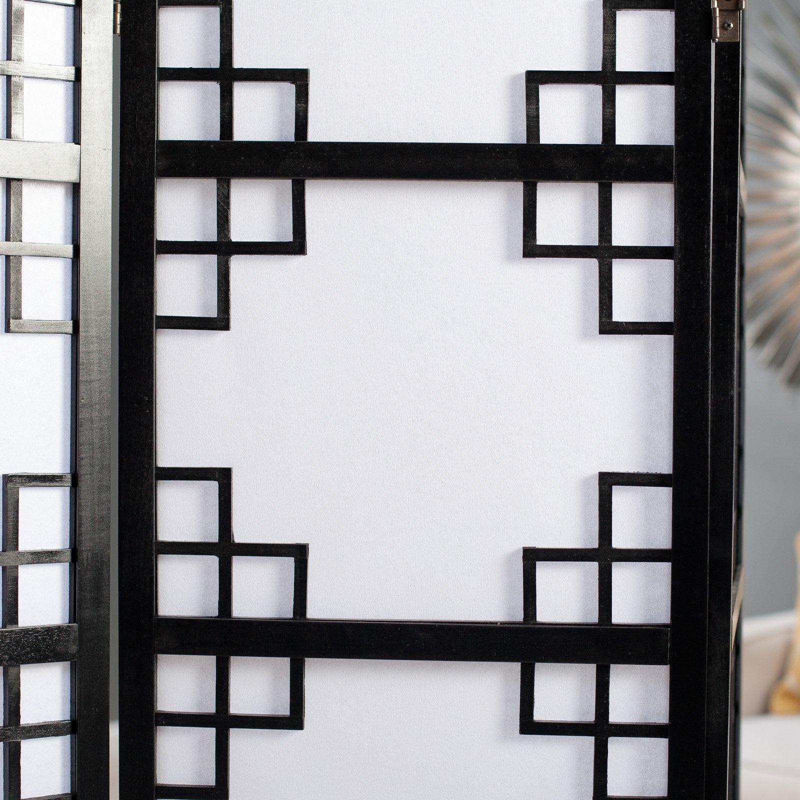 Black omei lattice 3 panel screen room divider for Lattice screen