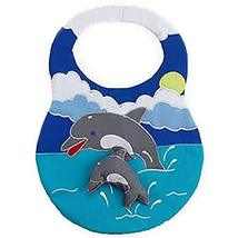 3-D Dolphin Critter Activity Bib Quilted Embroidered Soft Dolphin Sculpt... - $9.89