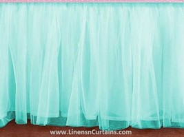 Full BLUE Tulle Ruffled Bed Skirt in any drop length - $75.99+