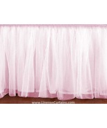 Full LIGHT PINK Tulle Ruffled Bed Skirt in any drop length - $75.99+