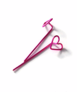 Fuchsia or Hot Pink Heart Long Stud Earrings - $18.90