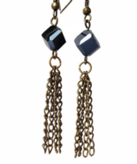 Antiqued Brass Black Tassel Dangling Earrings - $17.90+