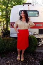 Vintage Red Pykettes Pencil Skirt - Women's Size Large - $17.82