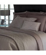 Yves Delorme Points Queen Flat Sheet Cafe Creme Egyptian Cotton Jacquard... - $179.00