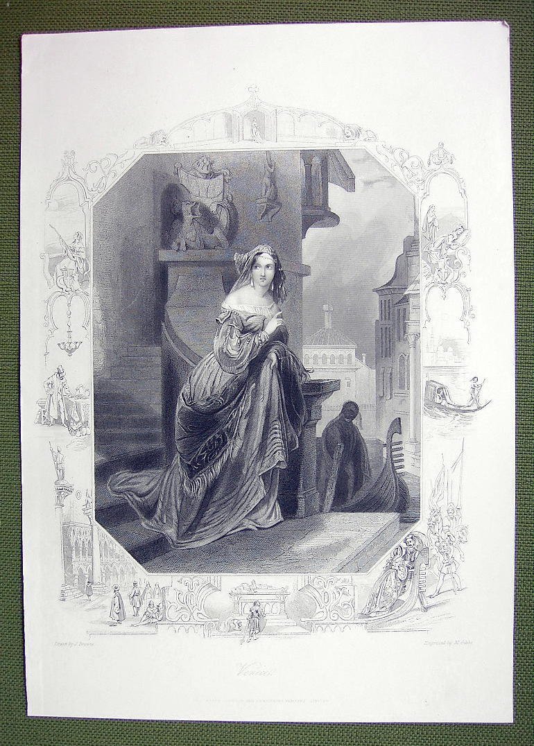 VENICE Young Maiden Home Escape Visit Lover - SUPERB Quality Print Engraving