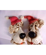 2 Vtg Christmas Dog Banks Santa Hat Bloodhound or Basset Hound Niagara P... - $45.49