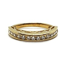MEDA 18k Gold On 925 Sterling Silver CZ Channel Set Cubic Zirconia Ring ... - $19.79