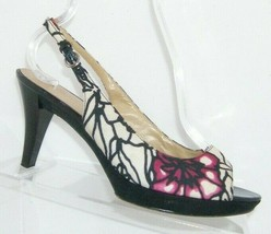 Nine West Karoo floral man made peep toe buckle slingback platform heel ... - $28.63