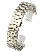 Top Plaza Solid Stainless Steel Curved End Link Bracelet (22mm|Silver&Gold) - $25.41