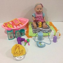 Little Mommy Wipey Dipey Baby Doll with Sounds Bottle Bath Tub Accessories! - $15.83